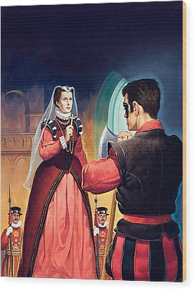 Execution Of Mary Queen Of Scots Wood Print by English School