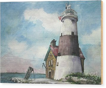 Wood Print featuring the painting Execution Rocks Lighthouse by Susan Herbst