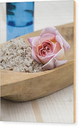 Exfoliating Body Scrub From Sea Salt And Rose Petals Wood Print by Frank Tschakert