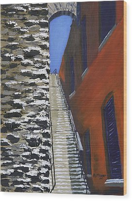 Exorcist Stairs In Winter Wood Print