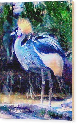 Wood Print featuring the painting Exotic Bird by Elinor Mavor