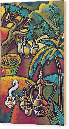 Wood Print featuring the painting Exotic East, Coffee And Olive Oil by Leon Zernitsky