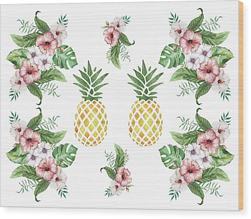 Wood Print featuring the painting Exotic Hawaiian Flowers And Pineapple by Georgeta Blanaru