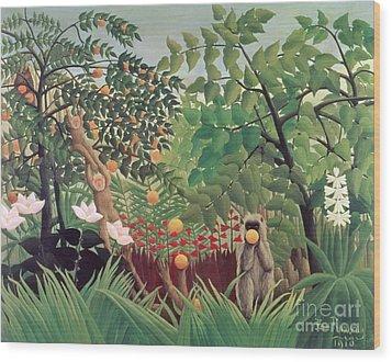 Exotic Landscape Wood Print by Henri Rousseau