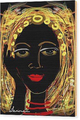 Wood Print featuring the digital art Exotic Woman by Elaine Lanoue