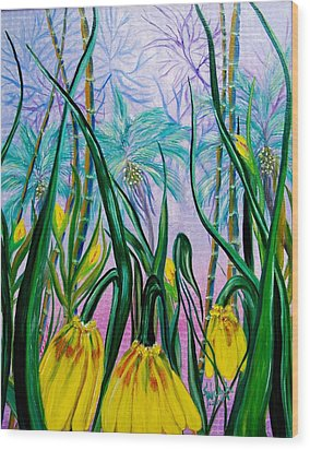Exotic Yellow Blooms Wood Print by Kathern Welsh