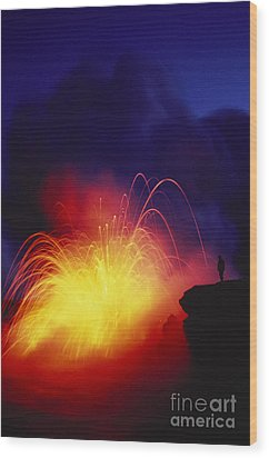 Exploding Lava And Person Wood Print by Greg Vaughn - Printscapes