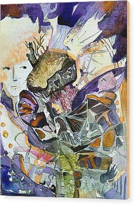 Exploiding Nut Wood Print by Mindy Newman