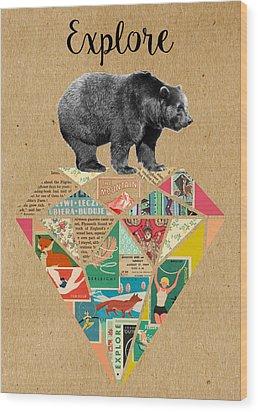 Explore Bear  Wood Print by Claudia Schoen