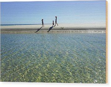 Exploring A Tidal Beach Lagoon Wood Print