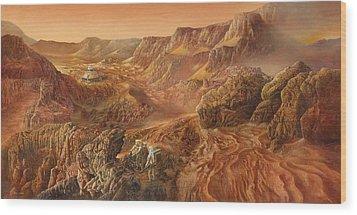 Exploring Mars Nanedi Valles Wood Print by Don Dixon