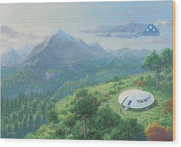 Wood Print featuring the digital art Exploring New Landscape Spaceship by Martin Davey