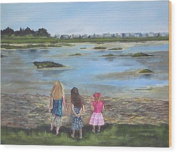 Exploring The Marshes Wood Print