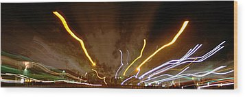 Explosion Of Lights Wood Print by Gary Brandes