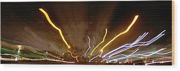 Explosion Of Lights Wood Print