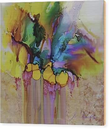 Wood Print featuring the painting Explosion Of Petals by Joanne Smoley
