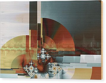 Wood Print featuring the digital art Exposition Internationale Paris by Richard Ortolano