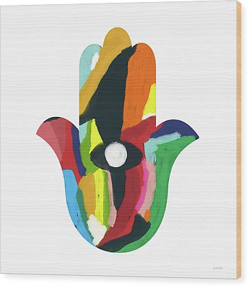 Wood Print featuring the mixed media Expressionist Hamsa- Art By Linda Woods by Linda Woods