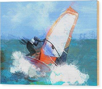 Expressionist Orange Sail Windsurfer  Wood Print by Elaine Plesser