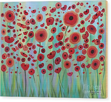 Expressive Poppies Wood Print by Stacey Zimmerman
