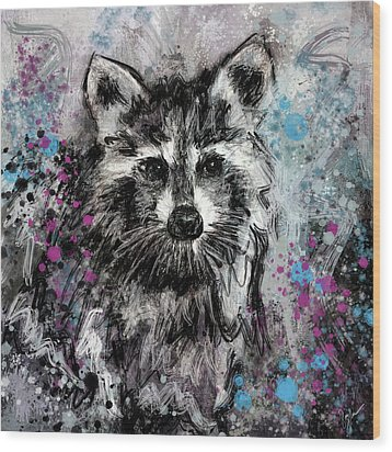 Expressive Raccoon Wood Print