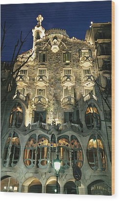 Exterior View Of An Antoni Gaudi Wood Print by Richard Nowitz