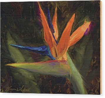 Wood Print featuring the painting Extravagance - Tropical Bird Of Paradise Flower by Karen Whitworth
