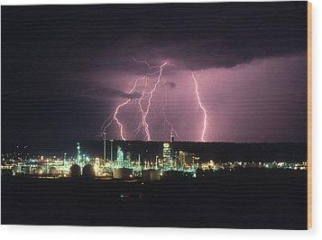 Exxon Lightning Wood Print