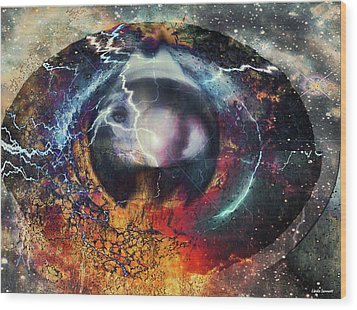 Wood Print featuring the digital art Eye Of The Storm by Linda Sannuti