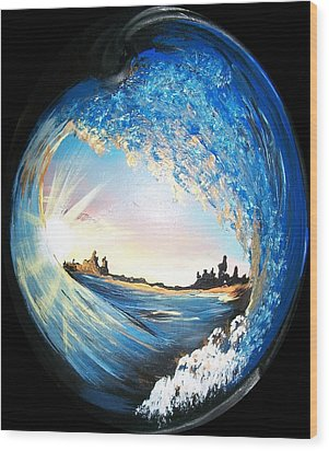 Wood Print featuring the painting Eye Of The Wave by Sharon Duguay