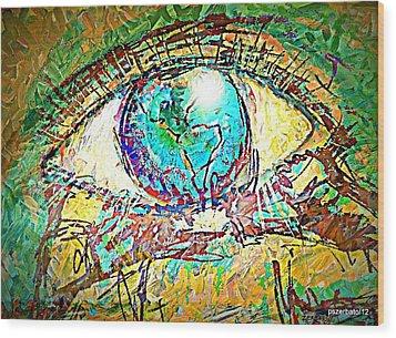 Eye Post-impressionist Wood Print by Paulo Zerbato