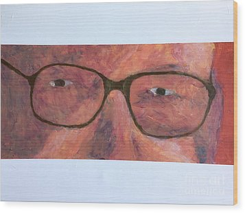 Wood Print featuring the painting Eyes by Donald J Ryker III
