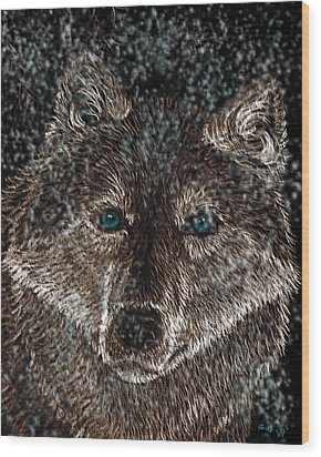 Eyes Of The Snow Wolf Wood Print by Nick Gustafson