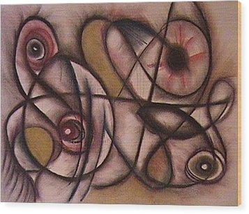 Eyes Watching Wood Print