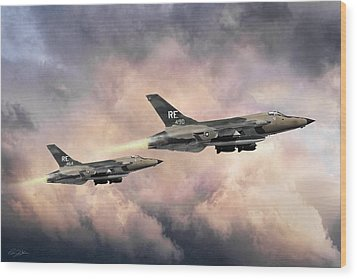 Wood Print featuring the digital art F-105 Thunderchief by Peter Chilelli