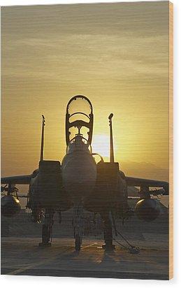 F-15e Sunrise Portrait Wood Print by Tim Grams