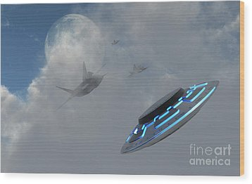 F-22 Stealth Fighter Jets On The Trail Wood Print by Mark Stevenson