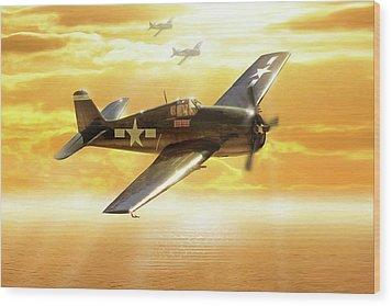 F-6f Hellcat Pacific Sunrise Wood Print