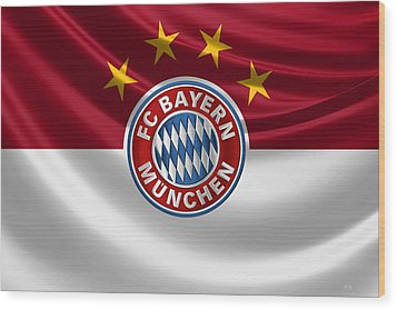 F C Bayern Munich - 3 D Badge Over Flag Wood Print