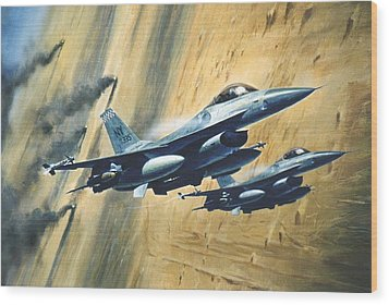 'f16 Desert Storm' Wood Print by Colin Parker