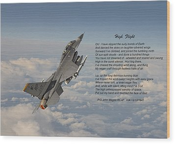 F16 - High Flight Wood Print