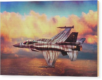 Wood Print featuring the photograph F16c Fighting Falcon by Chris Lord