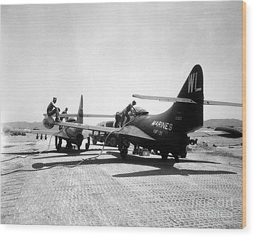 F9f Panther Jets Being Refueled Wood Print by Stocktrek Images