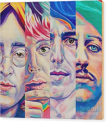 Wood Print featuring the painting Fab Four by Rebecca Glaze