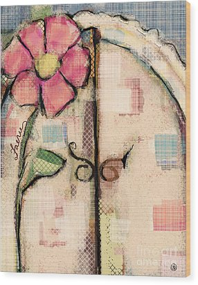 Wood Print featuring the mixed media Fabric Fairy Door by Carrie Joy Byrnes