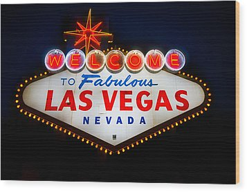 Fabulous Las Vegas Sign Wood Print by Steve Gadomski