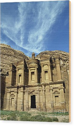 Facade Of Ad Deir An Ancient Rock-cut Monastery In Petra Wood Print by Sami Sarkis