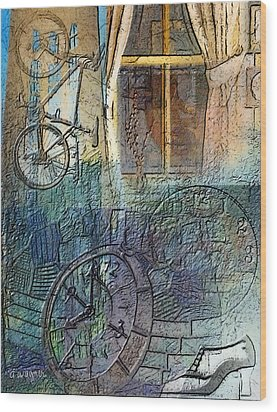Face In The Window Embossed Montage Wood Print by Arline Wagner