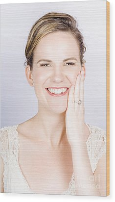 Face Of A Smiling Bride With Perfect Makeup Wood Print by Jorgo Photography - Wall Art Gallery