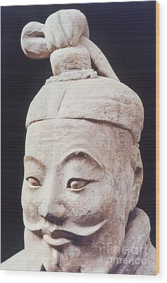 Wood Print featuring the photograph Face Of A Terracotta Warrior by Heiko Koehrer-Wagner